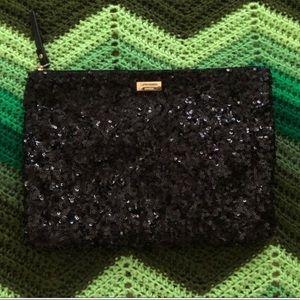 Kate Spade sequin pouch zip black gold sparkly EUC